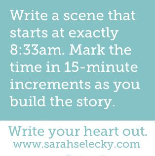 Prompt -- write a scene that starts at exactly 8:33 a.m. mark the time in…