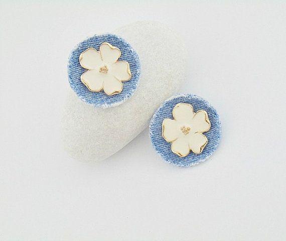 denim earrings denim jewelry denim flower collection by styledonna