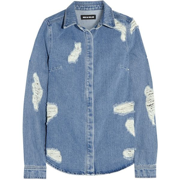 Distressed denim shirt House of Holland, Light Blue, Women's, Size: 12 (2,145 MXN) ❤ liked on Polyvore featuring tops, shirts, blouses, denim, ripped tops, leopard print shirt, animal print tops, leopard print tops and torn shirt