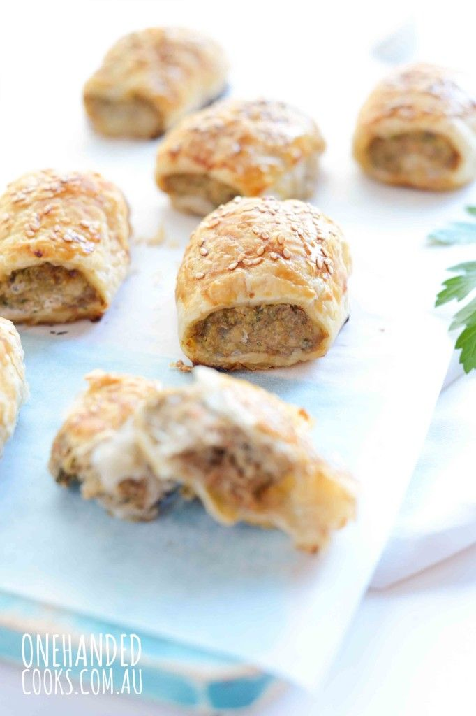 {NEW} CHICKEN  EGGPLANT SAUSAGE ROLLS: When made the right way sausage rolls are an easy little snack or meal that can be packed full of veggies.  The pastry fools everyone! #onehandedcooks