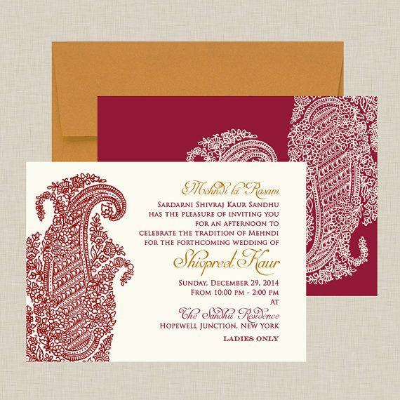 Indian Wedding Invitation: Ornate Paisley - Burgundy & Ivory - Intricate Artwork on Etsy,