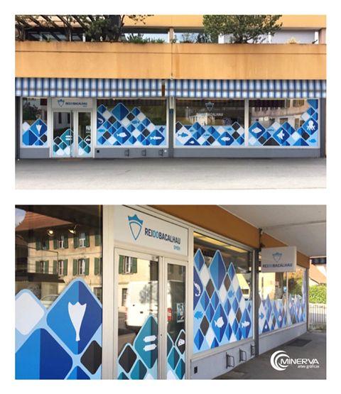 Decoração de loja para a rede de supermercados Rei do Bacalhau, na Suíça.