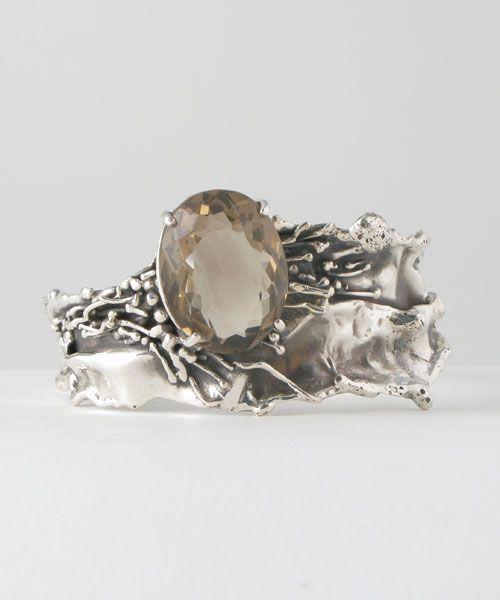 Cuff | Donald Marksz.  Sterling silver and Smoky Quartz