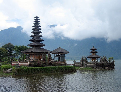 Very Photogenic Pura (temple) Ulun Danu Bratan, Bedugul, Bali, Indonesia, The setting was so beautiful it really enhances the architecture of the temple. One of my top favourite sights in Bali!