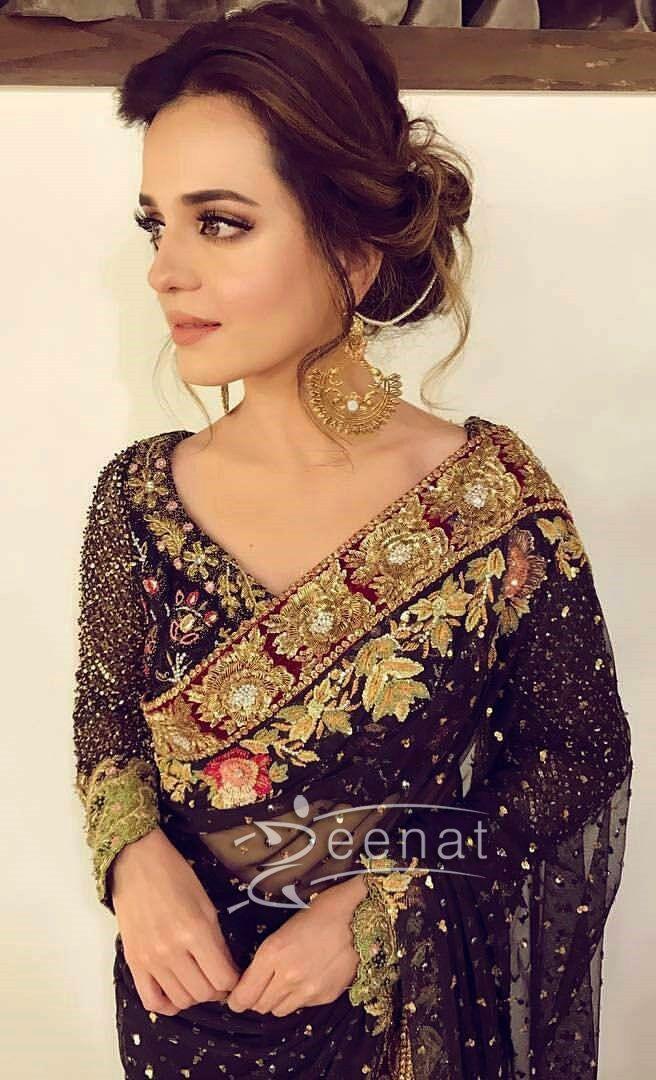 Sumbul Iqbal Khan on Sidra Batool Wedding Wearing Tena Durrani Saree