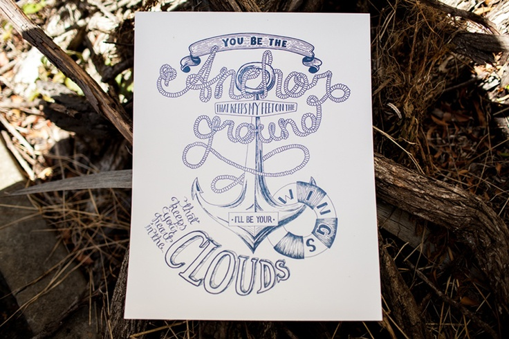 """""""You be the anchor, that keeps my feet on the ground. I'll be your wings, that keeps your heart in the clouds.""""    Another one of our lovely new prints in collaboration with the talented SiWise Creative.    Letterpress printed on 100% cotton paper. Each print measures 33cm  x 42cm.    These lovely prints are available for sale for $40. To enquire about our latest prints or to purchase one for yourself, please email us at info@birdsofafeatherco.com.au."""