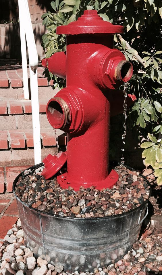 Pondless Fire Hydrant Container Fountain You Can Make These From Actual Reused Cast Iron Fire