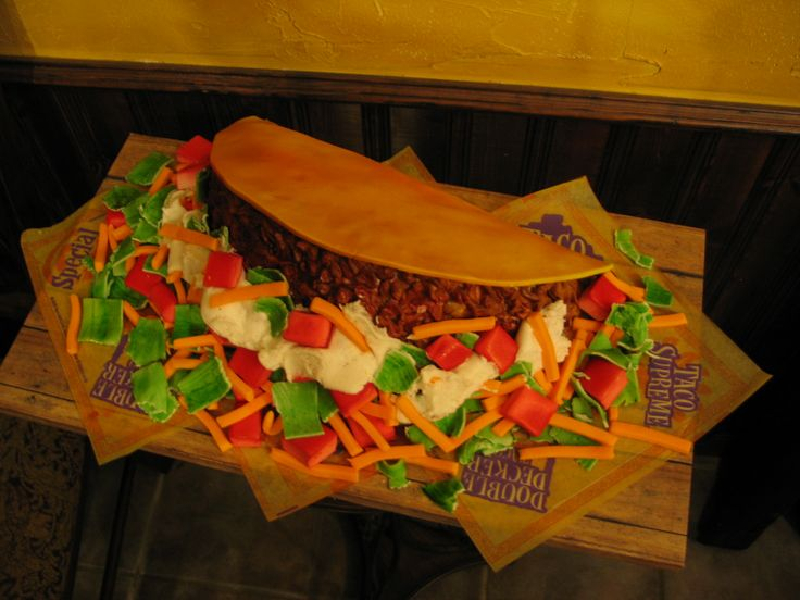 Taco Supreme Cake - Taco Bell Cake for my daughter's 17th birthday. Last year she wanted an Arby's Roast Beef cake. The cake is about 14 inches wide.