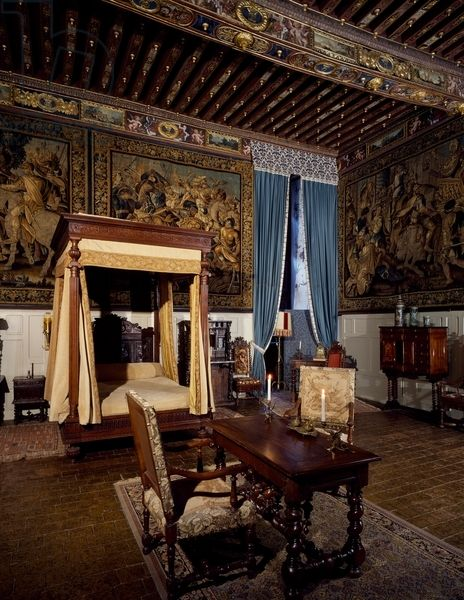 Chateau de Brissac in Brissac-Quince, Loire Valley, King Louis XIII's bedchamber, August 13, 1620 where king was reconciled with his mother Marie de Medici