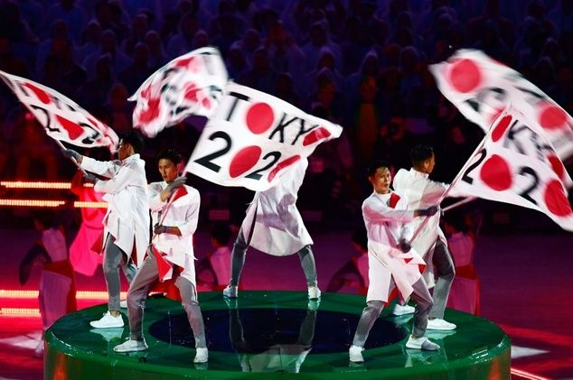 Spellbound Pictures with Closing ceremony RIO 2016 Olympics. Dancers perform during the Tokyo 2020 presentation at the Rio Olympics closing ceremony.  www.viralmp4.com