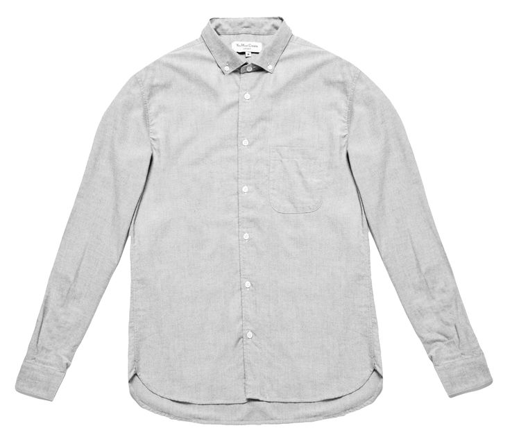 You Must Create Jan Dean Shirt: Cut from pale grey Portuguese Oxford cotton with a soft brushed feel, this shirt has a classic button down collar and a regular cut. Garment washed to soften and lightly pressed for a laundered feel, it's detailed with natural pearl buttons, a simple pocket at the chest and is finished with double buttoned cuffs.