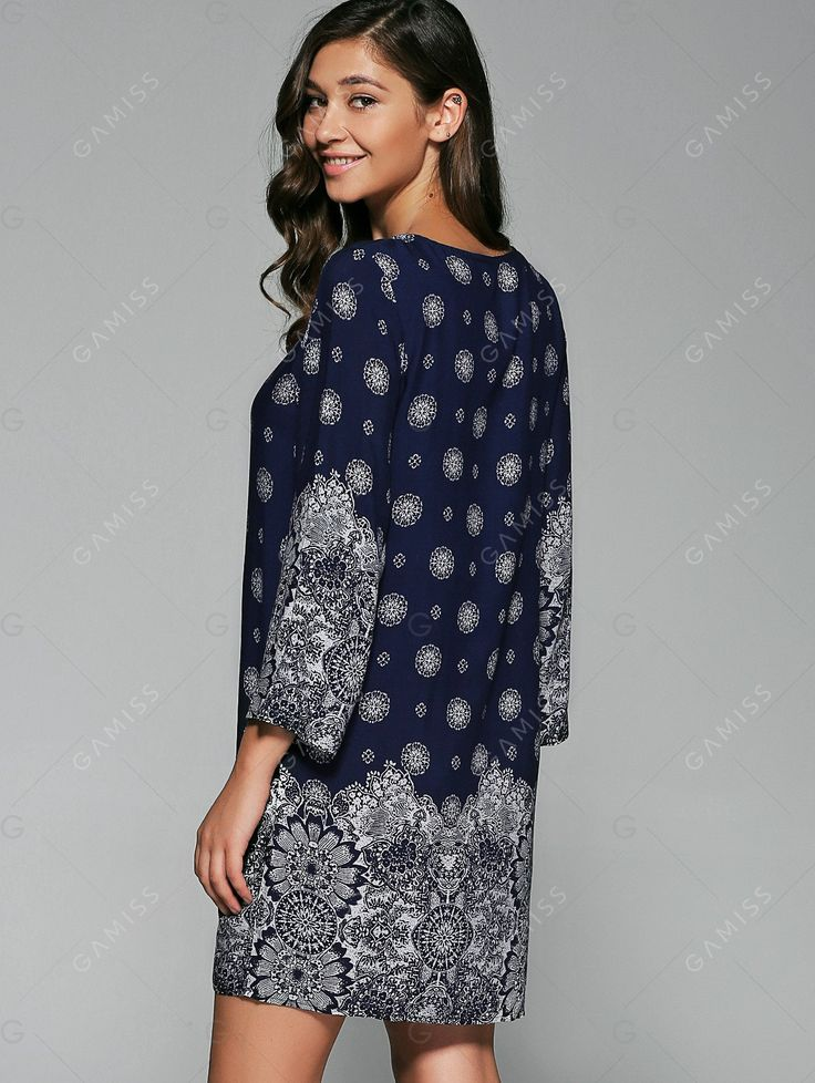 Tassel Embellished Tribal Print Dress - PURPLISH BLUE L