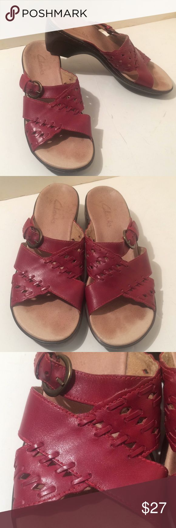 """Clarks sandals shoes slip on mule type Clarks  Super cute for summer or your much needed get away!!! Size 8 m slip on mule type shoes  they have a 2.5"""" heel adjustable buckle  beautiful red shade color  I am a huge clarks / born shoes fanatic and am Doing a huge clean out most of my shoes have only been worn 1-2 times   Open to reasonable offers!! Clarks Shoes Sandals"""