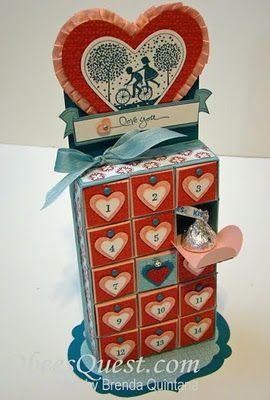 Valentine Countdown Calendar: Valentines Boxes, Valentines Day Ideas, Advent Calendar, Calendar Tutorials, Valentines Kiss, Kiss Calendar, Paper Crafts, Valentines Treats, Valentines Countdown