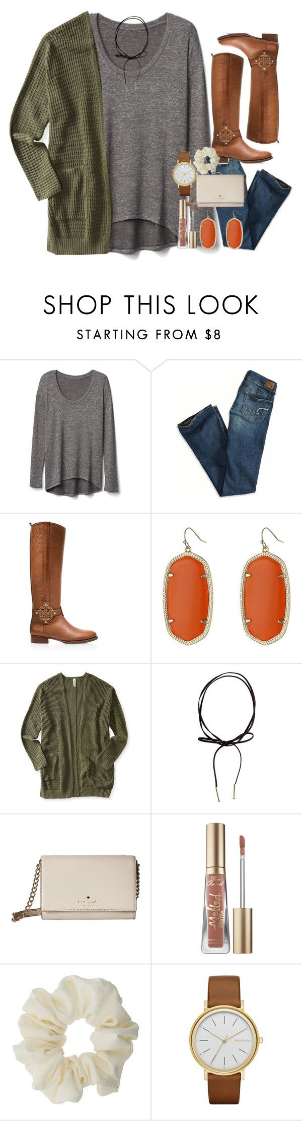 """""""what are 3 things you're thankful for?"""" by sdyerrtx ❤ liked on Polyvore featuring Gap, American Eagle Outfitters, Tory Burch, Kendra Scott, Aéropostale, Kate Spade, Too Faced Cosmetics, Miss Selfridge and Skagen"""
