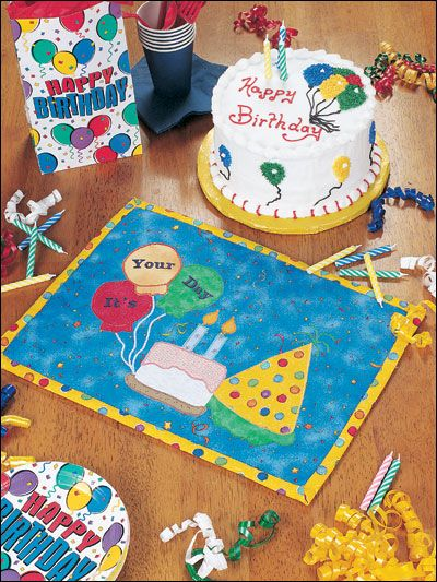 Happy Birthday Place Mat or could be a mugrug for each of the family with their names and maybe their age and year on back--db