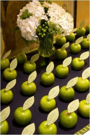 You can use any fruit as place name holders, saw this with tangerines and lemons too! This is cute!