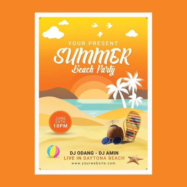 Summer Beach Party Flyer Summer Beach Party Party Flyer Beach Illustration
