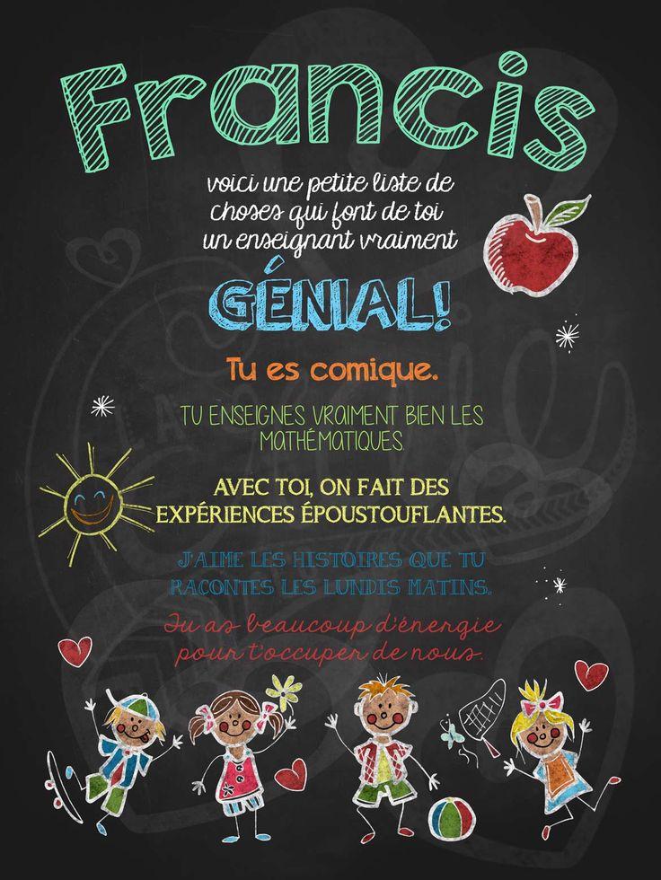 Affiche personnalisée Enseignant génial! | 15,00$ #lacraieco #chalkboard #cadeau #professeur #ecole