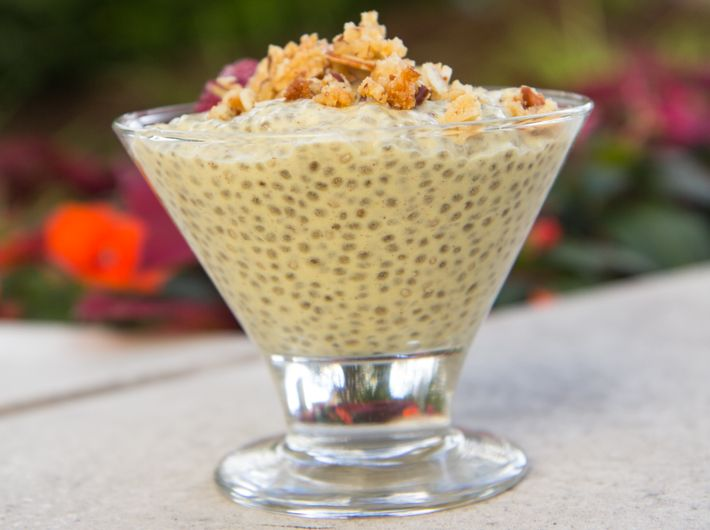 Mango Chia Seed Pudding Recipe by FlavCity. #DairyFree & #GlutenFree superfood pudding.