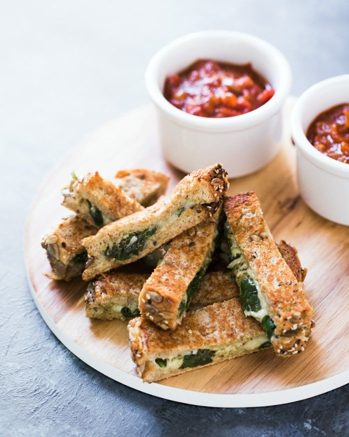 Pesto Grilled Cheese Dippers with Marinara | A Couple Cooks
