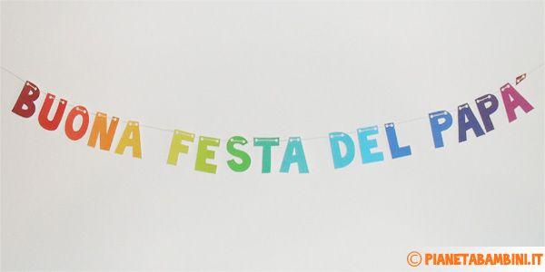"""Mini Striscione """"Buona Festa Papà"""" da stampare e ritagliare"""