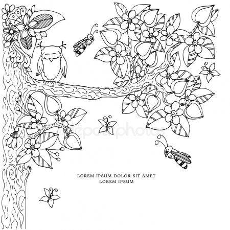 векторные иллюстрации рамка с цветами Zen Tangl дерево