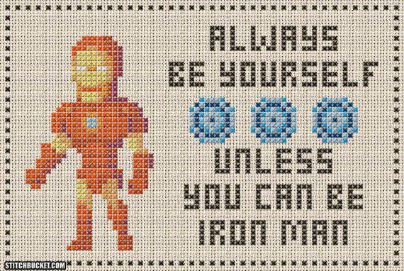 Unless You Can Be Iron Man Cross Stitch Pattern by StitchBucket