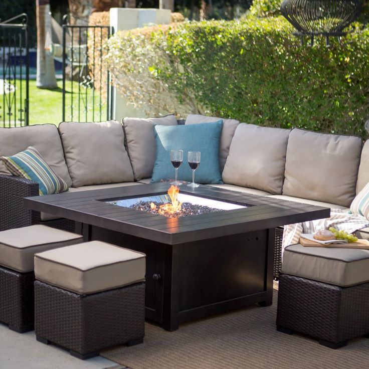 Napoleon Square Propane Fire Pit Table - Turn the party up a notch with the cozy Napoleon Square Propane Fire Pit Table. Pushing 60,000 BTUs and crafted from robust aluminum, this fire pit ta...