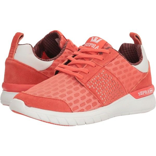 Supra Scissor (Coral/White) Women's Skate Shoes (815 MXN) ❤ liked on Polyvore featuring shoes, orange, toecap shoes, supra footwear, supra shoes, coral shoes and laser cut shoes