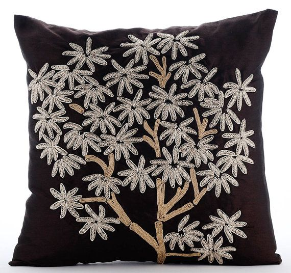 The Desert Life - 16x16 Zardosi & Jute Embroidered Brown Silk Throw Pillow