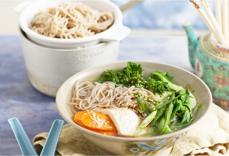 Japanese soba noodles and tofu create a simple broth soup that's light and easy to make.