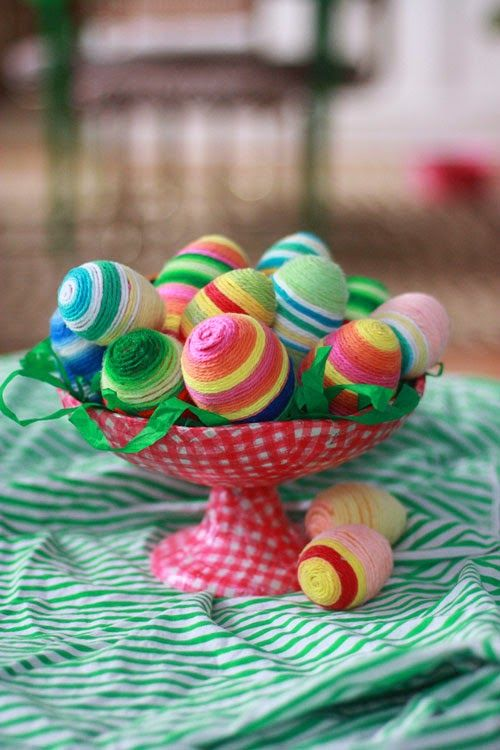 Yarn Wrapped Easter Eggs- 20 Creative and Easy DIY Easter Egg Decorating Ideas