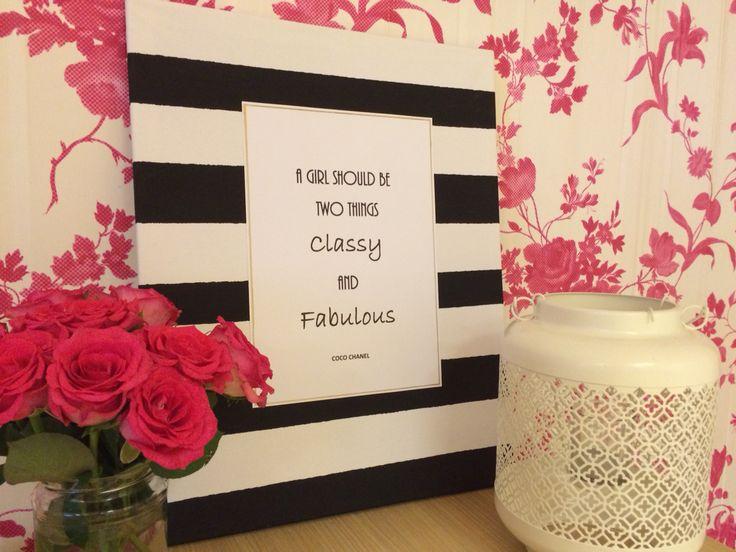 DIY Pakket: Chanel quote op canvas. Te vinden in onze online Shop www.femzshop.nl