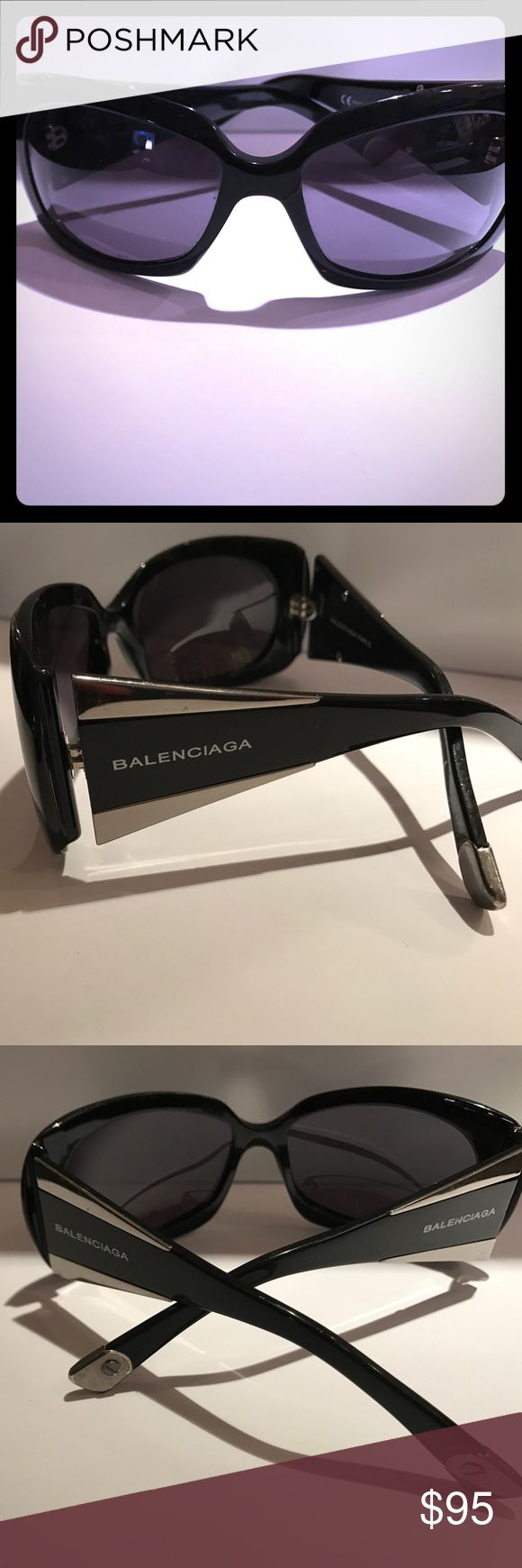 Balenciaga sunglasses Black BALENCIAGA sunglasses. The brand is listed on either side of the frame and there is silver hardware on the end. Balenciaga Accessories Sunglasses