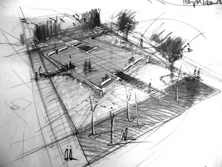 A birds eye sketch depicts the overall plan view of a concept. The pencil captures the smallest details without it being overpowering.