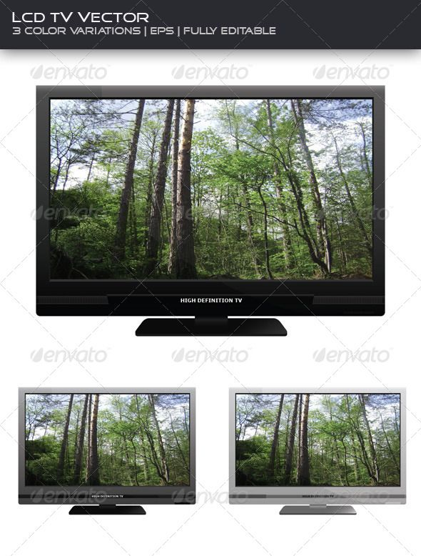 LCD TV (3-pack)  #GraphicRiver         Realistic vector of a LCD TV , can also be used as a PC monitor illustration. Package contains 3 fully layered and customizable EPS files (black, silver and white). All layers are documented, brand label and the image on the monitor can also be modified.   *Image is not included in the package.     Created: 14December11 GraphicsFilesIncluded: VectorEPS Layered: Yes MinimumAdobeCSVersion: CS Tags: banner #black #flat #glossy #hd #highdefinition #layered…