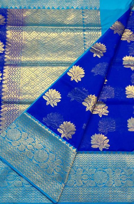 Shop online for Blue Handloom Banarasi Kora Silk Saree