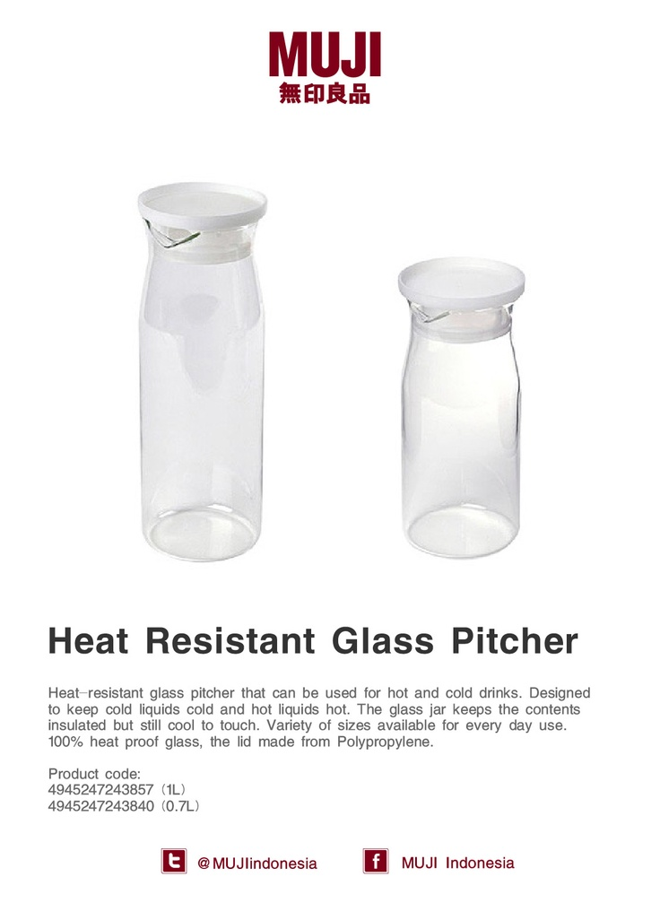This heat-resistant glass pitcher could be perfect to serve juice or hot tea for you breakfast.