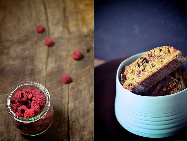 Freeze-dried raspberries in whole-wheat biscotti with bits of dark chocolate and walnuts