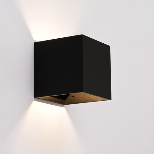 Design wandlamp vierkant zwart