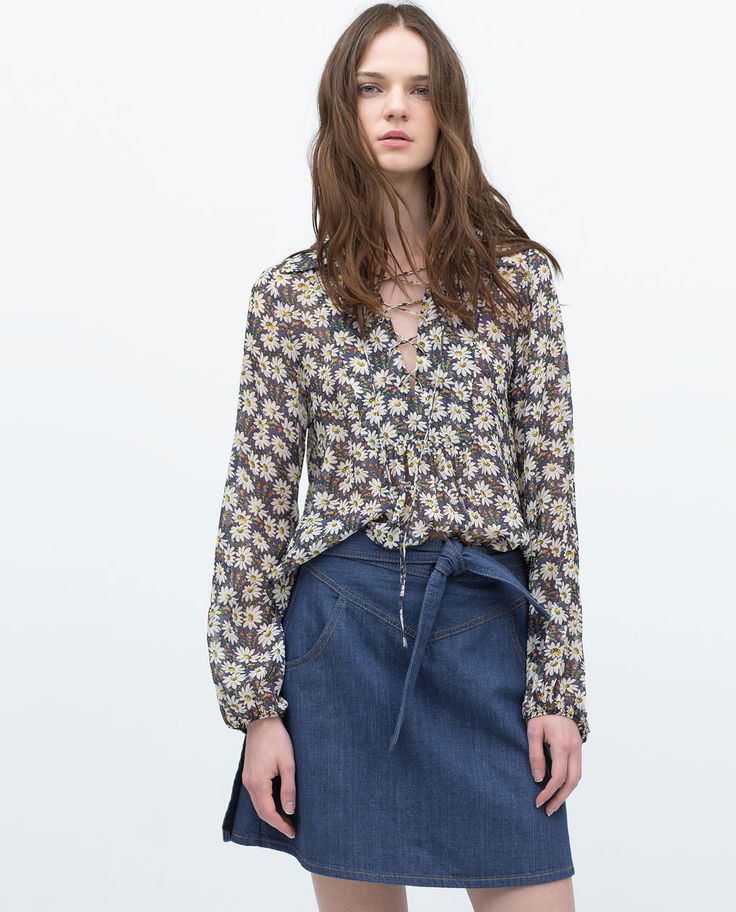 PRINTED TIE-NECK BLOUSE-View all-Tops-WOMAN | ZARA United States
