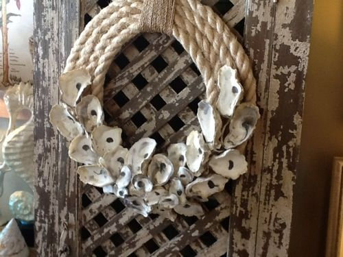 Nautical rope/oyster shell wreath