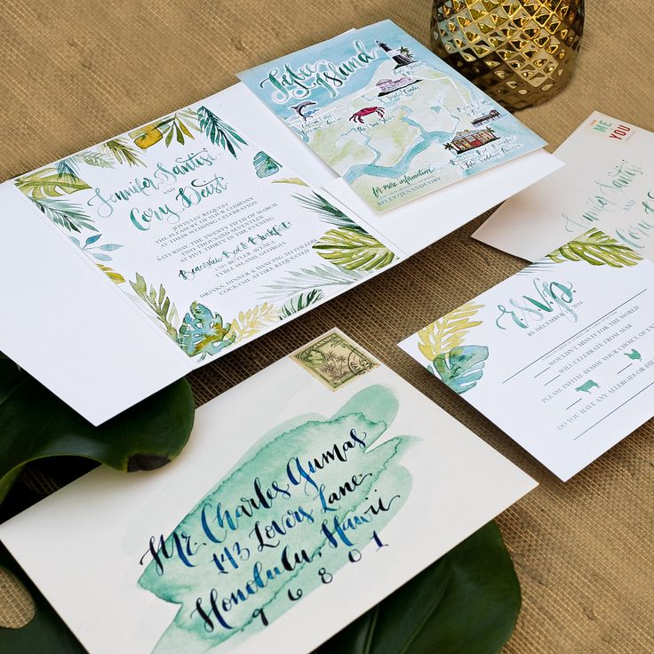 wedding invitations map%0A tropical watercolor wedding invitation  island wedding  watercolor leaves  and watercolor custom map  pocket