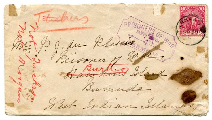 "BERMUDA (BOER WAR) 1902 censored envelope to POW Hawkins Island Bermuda redirected to other POW camps Tuckers Morgan & Burtts Is Franked 1d CGH adhesive tied ""TARKASTAD"" c.d.s. MR 29 2 ""PRISONER OF WAR/ PASSED CENSOR / 4 / BERMUDA"" struck on the front in violet."