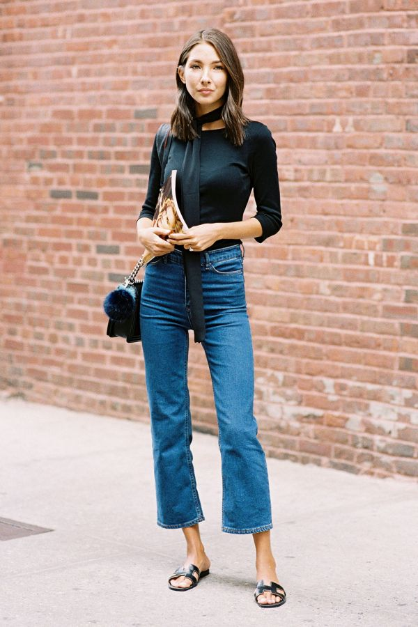kick flare crop jeans - spring street style