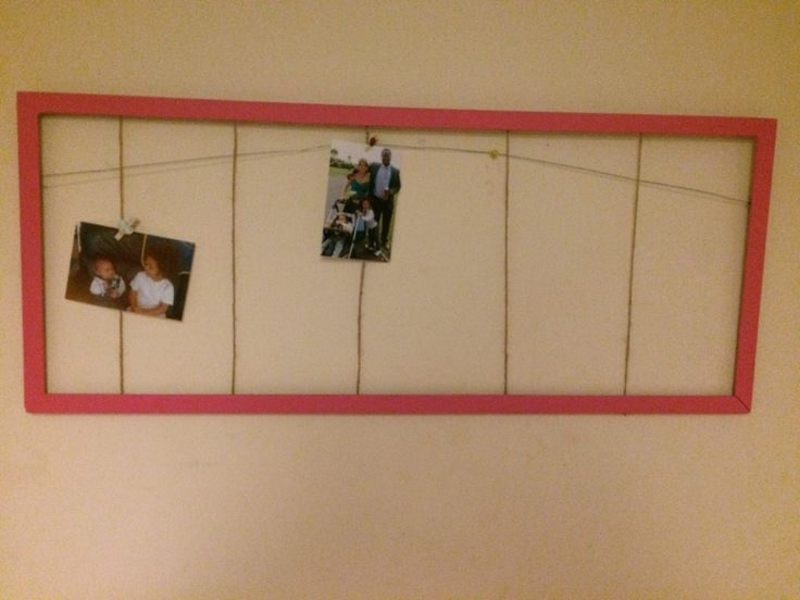 Broken mirror frame turned into multiple picture frame, awaiting mini pegs to hang the rest of my pics!
