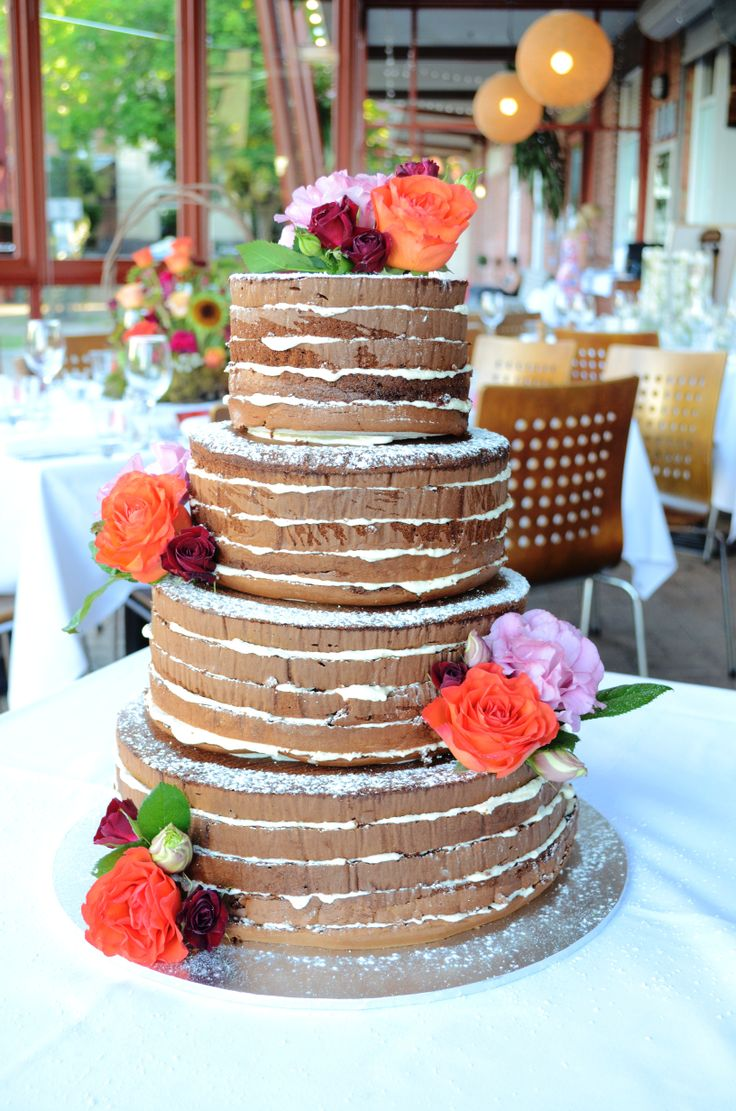 Rustic wedding cake, four tier naked layer cake with cream cheese frosting
