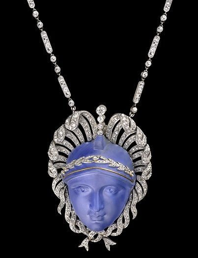 Edwardian carved sapphire pendant, circa 1902 - 1910.