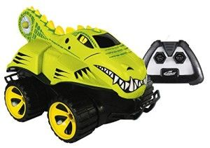 Mega Morphibians Amphibious RC Crocodile Easy for little ones to handle. The remote takes a little time to figure out how to make the car go straight. The unit takes four batteries, three AA for the car and one 9 volt for the remote control.  http://awsomegadgetsandtoysforgirlsandboys.com/kid-galaxy/ Kid Galaxy: Mega Morphibians Amphibious RC Crocodile